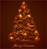 Christmas tree. Made ??of glowing particles. Vector illustration stock illustration