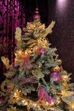 Christmas tree. Beautiful pink-violet Christmas tree stock image