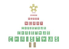Christmas Tree. Merry Christmas Tree in Type vector illustration