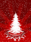 Christmas tree. Abstract winter background with christmas tree and rays Royalty Free Stock Photography