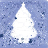 Christmas tree. Background for Christmas with snowflakes and ornaments royalty free illustration