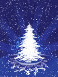 Christmas tree. Abstract winter background with christmas tree and rays Stock Photography