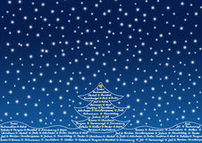 Christmas tree. Outline of christmas tree filled with word Christmas in many languages royalty free illustration