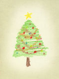 Christmas tree. Drawn with crayon over textured paper royalty free illustration