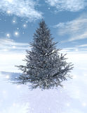 Christmas tree. Beautiful christmas tree and snow Stock Illustration