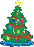 Christmas Tree. Full color vibrant illustration of a Christmas tree and ornaments Stock Photo