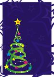 Christmas tree. Colorful freeform christmas tree with the many stars Stock Photography