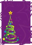 Christmas tree. Colorful freeform christmas tree with the many stars on the violet backgrownd Royalty Free Stock Photography