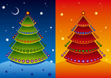 Christmas tree. Vector illustration of a Christmas tree in two color patterns Stock Photos