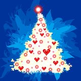 Christmas tree. With hearts, illustration Stock Photos