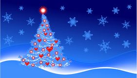 Christmas tree. With hearts, illustration Royalty Free Illustration