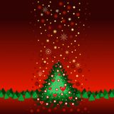 Christmas tree. With snowflakes, illustration Royalty Free Stock Image