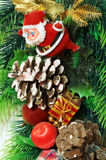 Christmas tree. Santa Claus with gifts on a christmas tree Royalty Free Stock Images