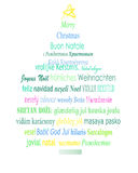Christmas tree. Of wishes in different languages Stock Image