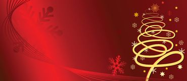 Christmas tree. On red background, vector illustration Royalty Free Stock Photo