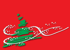 Christmas tree. Green Christmas tree over a red background. Some white stars are sorrounding it Stock Photo