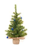 Christmas tree. With blue christmas balls on the white royalty free stock photo