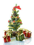 Christmas tree. Small Christmas tree with presents Royalty Free Stock Photos