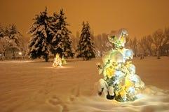 Christmas tree. Lighting christmas-tree at night. Outdoor. Almaty city park Stock Photography