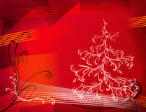Christmas tree. Vector christmas tree on red grunge background, place for text Stock Image