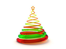 Christmas tree 3d. Rendering. Isolated on white background Stock Images