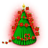 Christmas Tree 3D with Flowers. A 3D Christmas Tree with Poinsettia decoration Stock Photography