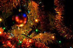 Christmas tree. Decoration and lights at night stock photo