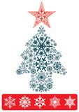 Christmas tree. By 5 perfect snowflake shape Royalty Free Stock Photography