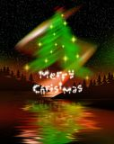 Christmas tree. Northern lights create a Christmas tree with yellow star ornaments.  Merry Christmas in stars below tree Royalty Free Stock Images