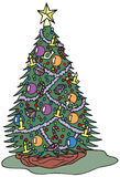 Christmas Tree. With all the decorations Royalty Free Stock Images