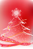Christmas tree. Abstract Christmas tree on the red background. Vector illustration Stock Photos