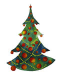 Christmas Tree. Watercolor painting of a christmas tree, created by the photographer in watercolor technique Stock Photography