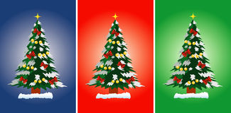 Christmas tree. Vector illustration of Christmas tree on the blue, red and green background Royalty Free Stock Photography