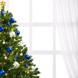 Christmas tree. With decoration, on white background stock photography