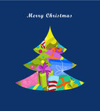 Christmas tree. Greeting card, vector illustration Stock Photo