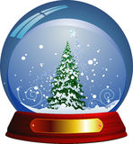 Christmas tree. In snow ball. Vector illustration Stock Images