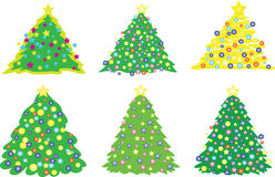 Christmas tree. Six christmas trees, vector illustration Stock Images