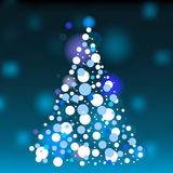 Christmas tree. Vector white Christmas tree with dots and stars on blue background Stock Image