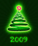 Christmas tree. On the green background royalty free illustration