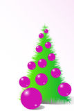 Christmas tree. With purple glss balls Royalty Free Stock Photography