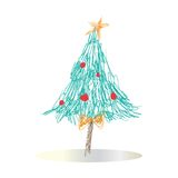 Christmas tree. Decorated Christmas tree illustration isolated on white background Royalty Free Stock Photos