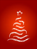 Christmas tree. On red background Royalty Free Stock Photo
