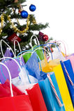Christmas Tree. An isolated Christmas tree  with presents ready for Santa Stock Photo