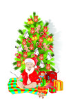 Christmas tree. Illustration of a boy holding a present and unwrapping christmas gifts, with a Christmas tree in the background The vector file is in AI-EPS8 Royalty Free Stock Image