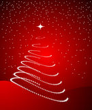 Christmas tree. Beautiful merry christmas tree on red background Royalty Free Stock Photo