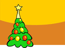 Christmas tree. Decorated christmas tree with gift Stock Image