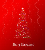 Christmas tree. Beautiful merry christmas tree on red background Royalty Free Stock Image