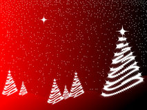 Christmas tree. Beautiful merry christmas tree on red background Stock Photos