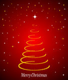Christmas tree. Beautiful merry christmas tree on red background Stock Photo