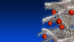 Christmas tree. Christmas silver tree with red toys Stock Image